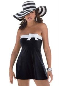 Apparel-Roamans Women's Plus Size Side Bow Swimdress-In our plus size swimdress, you'll feel like a classic Hollywood starlet sunbathing under tropical palm trees. Bandeau-style swimdress creates natural hourglass waist Contrast white band and bow at the top of the bodice smoothes bustline Removable/adjustable white straps give the perfect ...dhaasuproducts.com