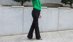 Black Dress Pant Yoga Pants (Boot-Cut) | Women's Stretch Dress Pants | Betabrand