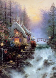 Thomas Kinkade - Sweetheart Cottage II: A Tranquil Dusk at Falbrooke Thatch