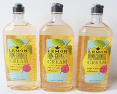 3 X LEMON POMEGRANATE CREAM Shower Gel body wash Bath & Body Works lot set 10oz