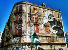Graffiti in Lisbon, Avenida Fontes Pereira de Melo, by Os Gémeos