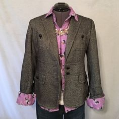 Beautiful Black Tweed Wool Blazer by Talbots Black tweed jacket 35% wool, 32% viscose, 15% polyester, 14% polyamide, 2% silk, 2% spandex. Fully lined with black 100% polyester. Two bust pockets, two bottom welt pockets with slant pockets too. Back of neck to hem is 21.5 inches, bust measured flat across is 16.5 inches. In Perfect condition and has never been worn. Talbots Jackets & Coats Blazers
