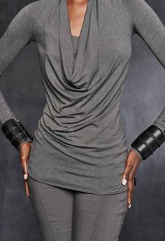 Long-Sleeve Cowl-Neck Top