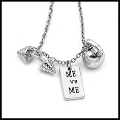 Charm Gym Weightlifting Necklace - Dumbbell Kettle bell Necklace - FREE SHIPPING