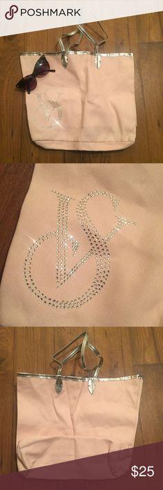 Light pink silver Victoria secret shopping bag In excellent condition. Victoria's Secret Bags Shoulder Bags