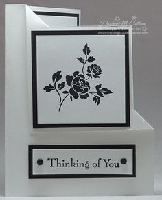 Stampin' Up! handmade card: You are Loved Black and White Card ... folded back top corner layout ... mostly white with black mats, inking and candy dots ... elegant ...