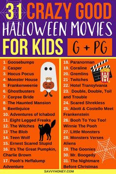 The BEST Halloween movies for kids! A Halloween movie list the whole family will enjoy! PINNING FOR LATER! These halloween movies for kids are the BEST! A list of 31 family friendly Haloween movies to enjoy the entire month of October! Halloween Tags, Halloween 2018, Casa Halloween, Halloween Celebration, Halloween Party Decor, Holidays Halloween, Halloween Costumes, Halloween Ideas, Halloween Traditions