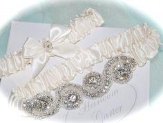 Wedding Garter Set Wedding Garter Dazzle Bridal Garter Set in Satin with Glittering Rhinestones and Seed Bead Trims