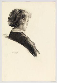 Edward Hopper, Estudio de Jo Hopper sentada, 1945-50. Tiza sobre papel,56.2 × 37.9 cm, Whitney Museum of American Art, Nueva York, EEUU