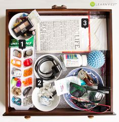 Upcycle an old ice cube tray as a junk drawer organizer!