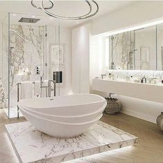 Home Design: awesome 25 Luxurious Marble Bathroom Design Ideas . Bad Inspiration, Bathroom Inspiration, Bathroom Ideas, Bathroom Designs, Bathroom Spa, Master Bathroom, Bath Ideas, Bathroom Goals, Bathroom Storage