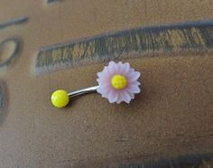 Lilac Yellow Daisy Belly Button Ring Jewelry Sun by Azeetadesigns, $15.00