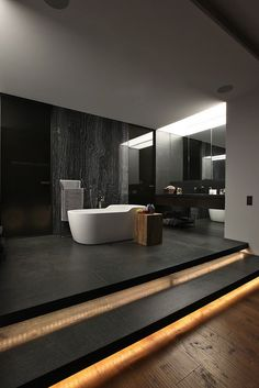 dark minimalist bath