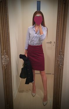 Blue blouse - striped skirt, beige heels - http://ameblo.jp/nyprtkifml