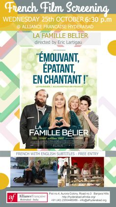 October 25  at 6.30pm, AF AF Auditorium CINE CLUB : Belier Family (LA Famille Belier) by Eric Lartigau First Release : 2014 | Genre : Comedy Drama Duration : 105 minutes | Production : FRANCE Language : French with English subtitles Synopsis: A young woman with deaf parents discovers she has an amazing singing voice. The film received six nominations at the 40th César Awards, winning Most Promising Actress for Louane Emera. Cast Karin Viard, François Damiens, Eric Elmosnino, Louane Eme