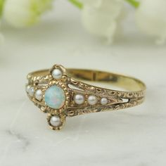 Victorian Opal and Seed Pearl 14k Rose Gold by ArtifactVintage, $795.00