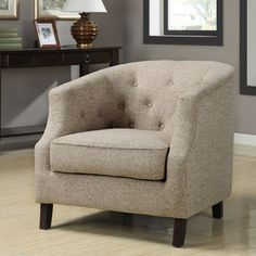 @Overstock.com - Ansley Trinity Stone Club Chair - This beautiful contemporary club chair adds an air of elegance and sophistication to any room that it is used in. The cream-colored fabric and espresso wood finish add to the class and comfort that this well-padded chair has to offer.  http://www.overstock.com/Home-Garden/Ansley-Trinity-Stone-Club-Chair/5992062/product.html?CID=214117 $279.99