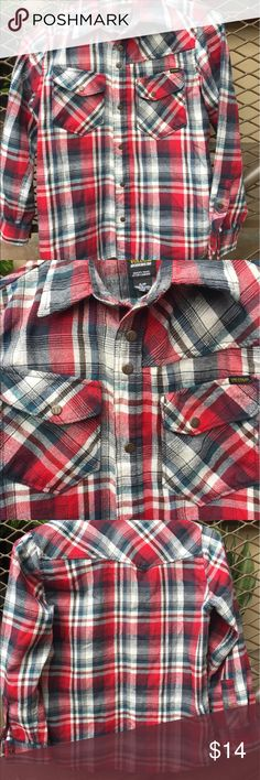 VOLCOM Workwear Red/Gray Plaid Shirt/Top This a gorgeous shirt and in perfect like new condition. It has snaps for durability and snap pockets and cuffs. It is made of Polyester and Rayon and will always look good. It is really cute and great for layering! Volcom Tops