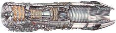 GE F110-100 afterburning jet engine