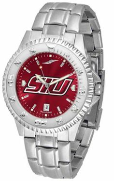 Southern Illinois Salukis Competitor AnoChrome Men's Watch with Steel Band by SunTime. $91.67. Showcase the hottest design in watches today! A functional rotating bezel is color-coordinated to compliment the NCAA Southern Illinois Salukis logo. A durable, long-lasting combination nylon/leather strap, together with a date calendar, round out this best-selling timepiece.The AnoChrome dial option increases the visual impact of any watch with a stunning radial refl...