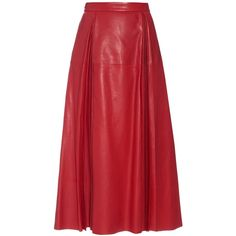 Gucci Pleated leather midi skirt (€3.330) ❤ liked on Polyvore featuring skirts, bottoms, red, red skirt, midi skirt, red leather skirt, high waisted midi skirt and leather skirt