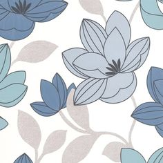 Superfloral Blue Flower Wallpaper - Modern Floral Wall Coverings by Graham Brown--- Just ordered for my laundry room, can't wait to see it up! Blue Floral Wallpaper, Floral Pattern Wallpaper, Plain Wallpaper, Brown Wallpaper, Flower Wallpaper, Cool Wallpaper, Classic Wallpaper, Wallpaper Ideas, Bohemia Wallpaper