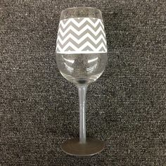 White and Gray Chevron Wine Glass
