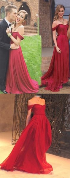 Charming A-Line Off-the-Shoulder Floor Length Red Prom/Evening Dress with Ruched