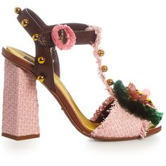 Dolce & Gabbana Embellished raffia block-heel sandals (5.845 RON) ❤ liked on Polyvore featuring shoes, sandals, t strap sandals, dolce gabbana shoes, woven sandals, colorblock sandals and t bar sandals