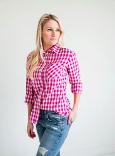 Gorgeous in Gingham Top- Berry Pink. Are you as obsessed with gingham as we are? Get ready to receieve numerous compliments when wearing this shirt! Wear alone or as a layering piece. Comes in 4 fabulous eye-catching colors. Long sleeves.
