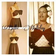 Billie Holiday & A Model Of Her Dress Billie Holiday, Lady Sings The Blues, Cool Jazz, Ella Fitzgerald, Jazz Artists, Josephine Baker, Louis Armstrong, Vintage Outfits, Vintage Clothing