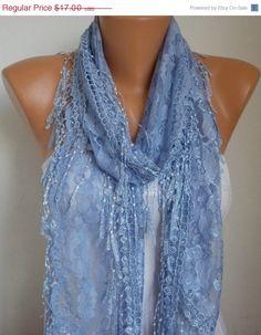 Light Blue Scarf Shawl Scarf Cowl with Lace Edge Catwalk Fashion, Neck Wrap, Lace Fabric, Gifts For Mom, Cowl, Light Blue, Scarves, Fashion Accessories, Feminine