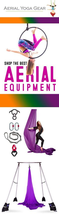 Spread your silk wings with Aerial Yoga Gear's shimmery soft nylon tricot silks and hammocks, or become a circus star with our steel hoops! Our equipment is available in customized sizes and we offer top notch customer support to help you find the right gear for your needs. Learn more about our aerial equipment at aerialyogagear.com