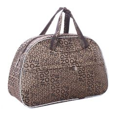 GTFS Waterproof Oxford Women bag Brown Letters Pattern Travel Bag Large Hand Canvas Luggage Bags