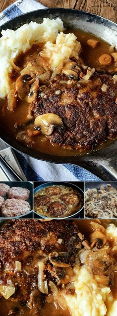 Southern Hamburger Steaks with Onion Mushroom Gravy