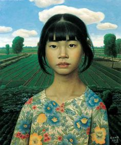 Lau Kong-hi, 2011?, portrait of a girl in a field,