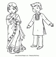Indian Children Colouring Page and other children of the world coloring pages. Activity Village.co.uk