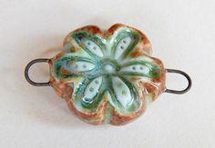 Handmade Ceramic pendant flower lime and brownPendant