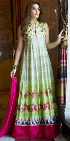 Trendy Green And Multi-Color Cotton Anarkali Suit.