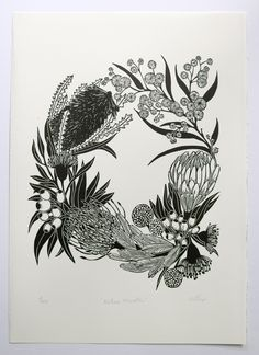 Native Wreath Limited edition lino print by Pigeon Gillian Lino cut printmaking print handmade Australian flowers flora protea wattle bottle brush Australian Wildflowers, Australian Native Flowers, Native Tattoos, Art Tattoos, Australian Tattoo, Wreath Tattoo, Wreath Drawing, Botanical Art, Printmaking