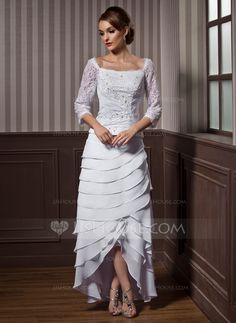 A-Line/Princess Square Neckline Asymmetrical Lace Beading Cascading Ruffles Zipper Up Sleeves 3/4 Sleeves Hall General Plus No Fall White Chiffon Wedding Dress