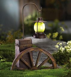 Western Wagon Wheel with Solar Lighted Lantern Outdoor Garden Decoration Light