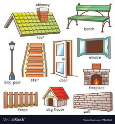 Illustration about Vector Illustration of Cartoon Parts of house vocabulary. Illustration of wall, parts, fence - 99874690 Learning English For Kids, English Lessons For Kids, Kids English, English Language Learning, Teaching English, Learn English Grammar, English Vocabulary Words, Learn English Words, English Writing