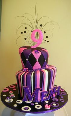 Pink+Purple+Black+Topsy+Turvy+Cake+By+zaco+on+CakeCentral.com