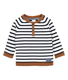 Check this out! Fine-knit sweater in cotton fabric with a button placket and long raglan sleeves. Contrasting ribbing at neckline, cuffs, and hem. - Visit hm.com…