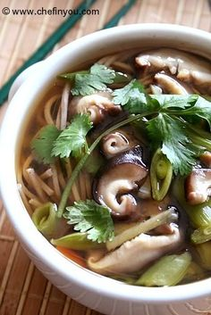 Recipe: Japanese Soba Noodle Soup with Shiitake Mushroom and Mitsuba Cilantro (Vegetarian Version) |きのこ蕎麦