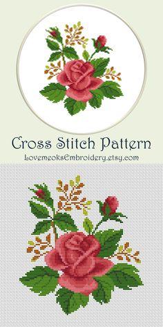 Modern counted cross stitch pattern Rose pattern Letter B modern cross stitch pattern Modern Cross Stitch Patterns, Counted Cross Stitch Patterns, Cross Stitch Designs, Cross Stitch Embroidery, Embroidery Patterns, Hand Embroidery, Border Embroidery, Cross Stitches, Monogram Cross Stitch
