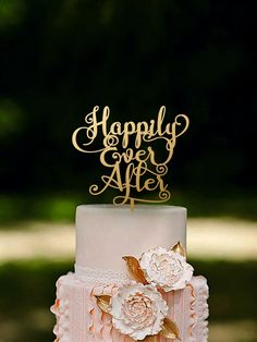 Wedding Cake Topper Happily Ever After Gold or Silver Metallic by HomeWoodDeco on Etsy https://www.etsy.com/listing/470733107/wedding-cake-topper-happily-ever-after