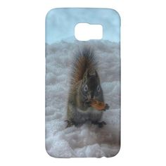 Male Squirrel Standing in Snow Wildlife Photo Samsung Galaxy S6 Cases