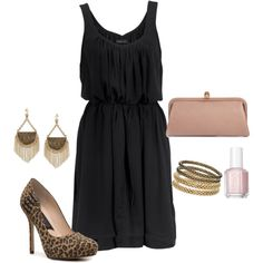 LBD with leopard pumps, created by doodleluv on Polyvore